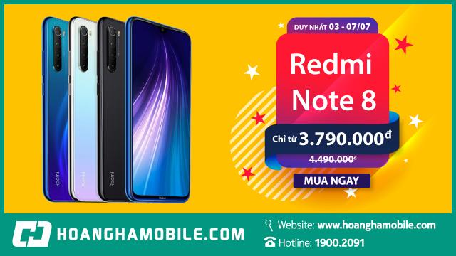 Redmi Note 8: Giảm ngay 700.000đ, giá chỉ còn 3.790.000đ