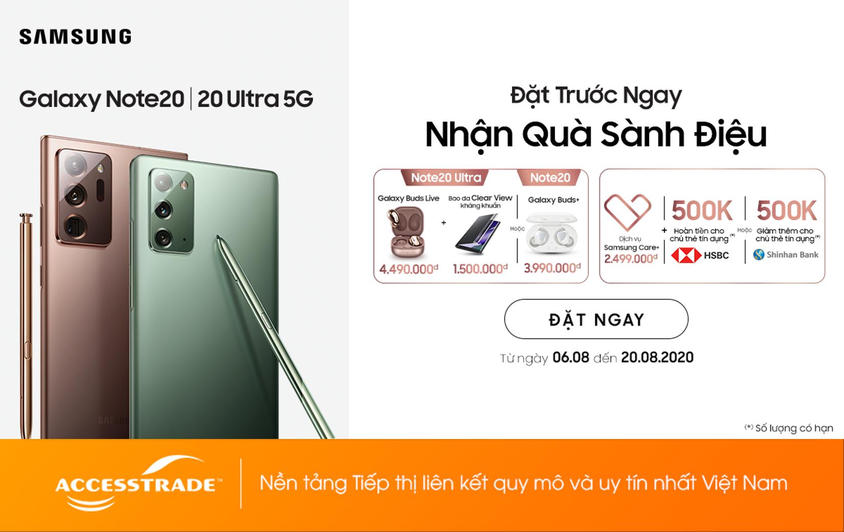 Đặt trước Galaxy Note20 | 20 Ultra 5G nhận liền tay bộ quà đẳng cấp trị giá 6.000.000đ++