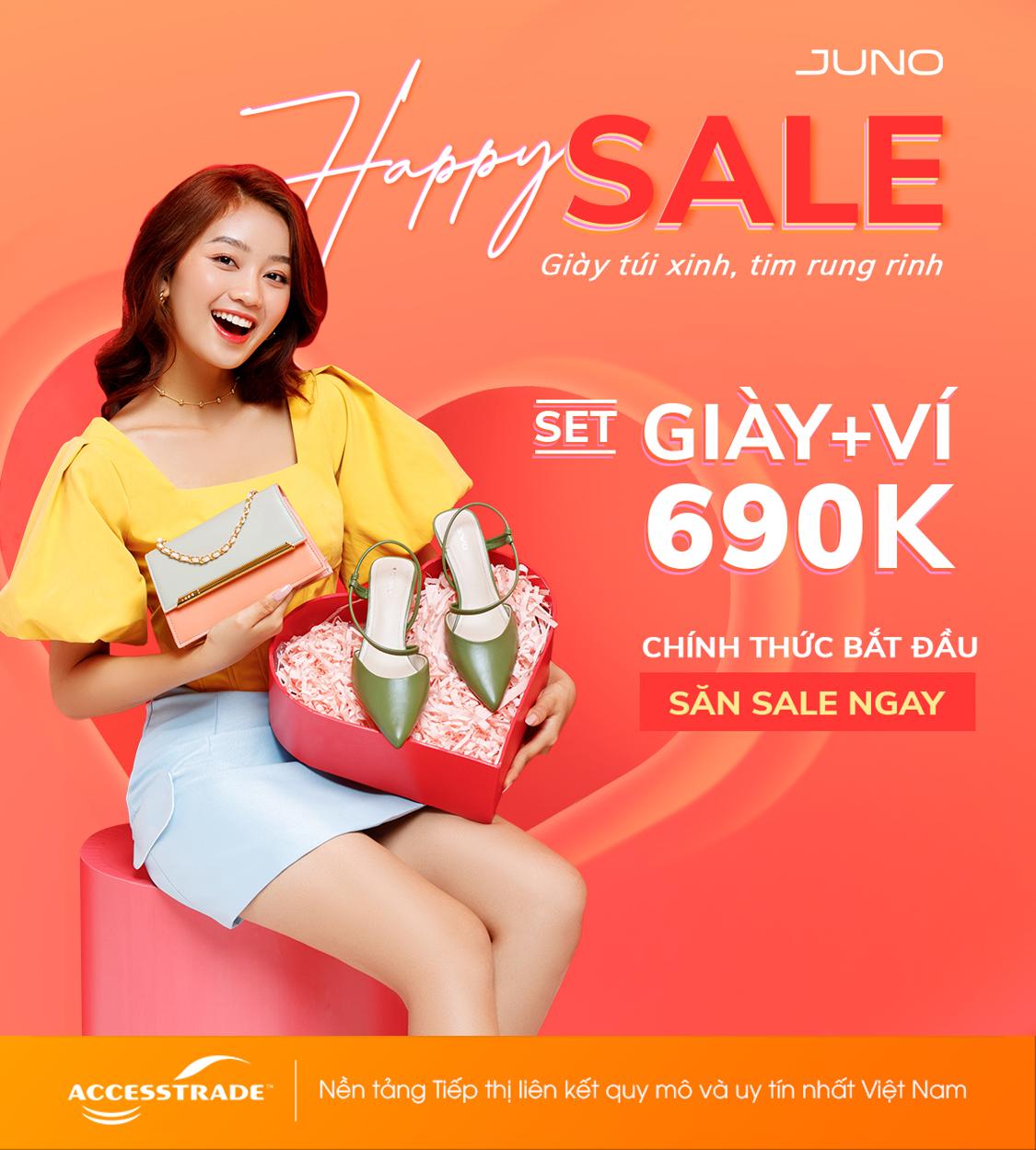 [ JUNO] 🤩 Happy Sale -Giày túi xinh tim rung rinh