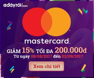 Thanh toán MasterCard giảm thêm 15% tối đa 200.000VND