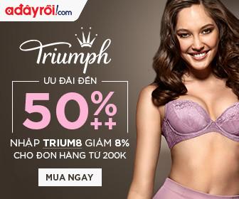 Triumph - Ưu đãi đến 50%++ - Nhập TRIUM8 giảm 8% cho đơn hàng từ 200k