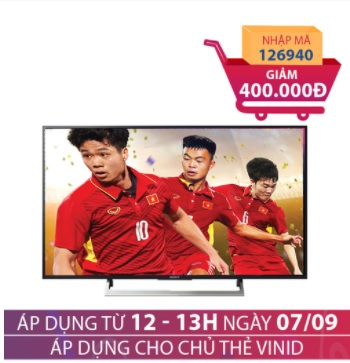 Android Tivi 4K HDR Sony KD-55X8000E 55 inch Giảm ngay 500.000đ