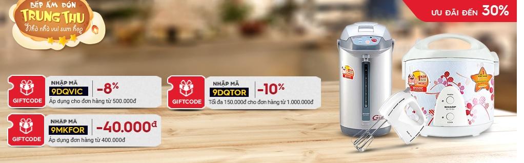 Giảm giá lên đến 500.000 cho mặt hàng điện máy Supor