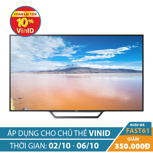 Giảm ngay 350K khi mua Internet Tivi Full HD Sony 40inch 40W650D