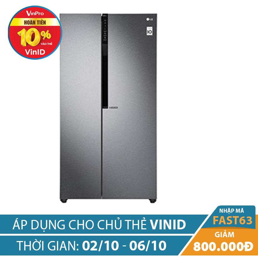 """Giảm ngay 800K khi mua Tủ lạnh Side by Side Inverter LG GR-B247JDS 613 lít (Xám) """""""