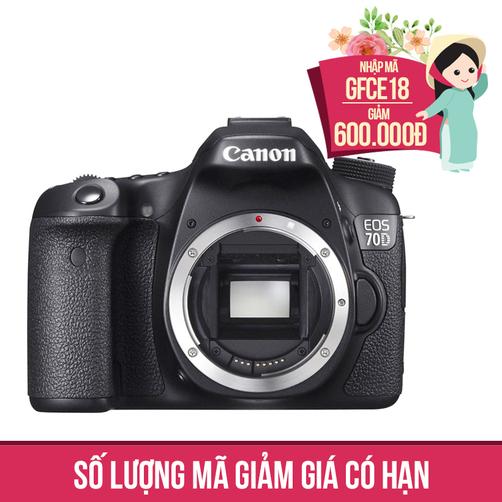 Giảm ngay 600K, tặng kèm thẻ nhớ 8GB và túi khi mua Máy ảnh SLR Canon EOS 70D Body