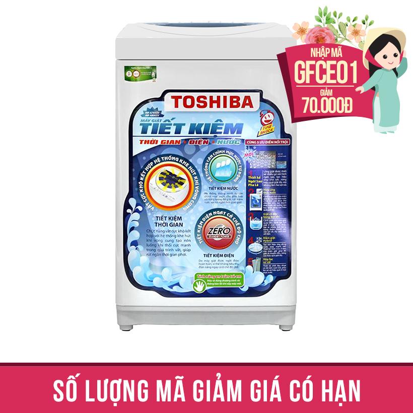 Giảm ngay 70K khi mua Máy giặt lồng đứng Toshiba A800SV, 7kg (Xanh)