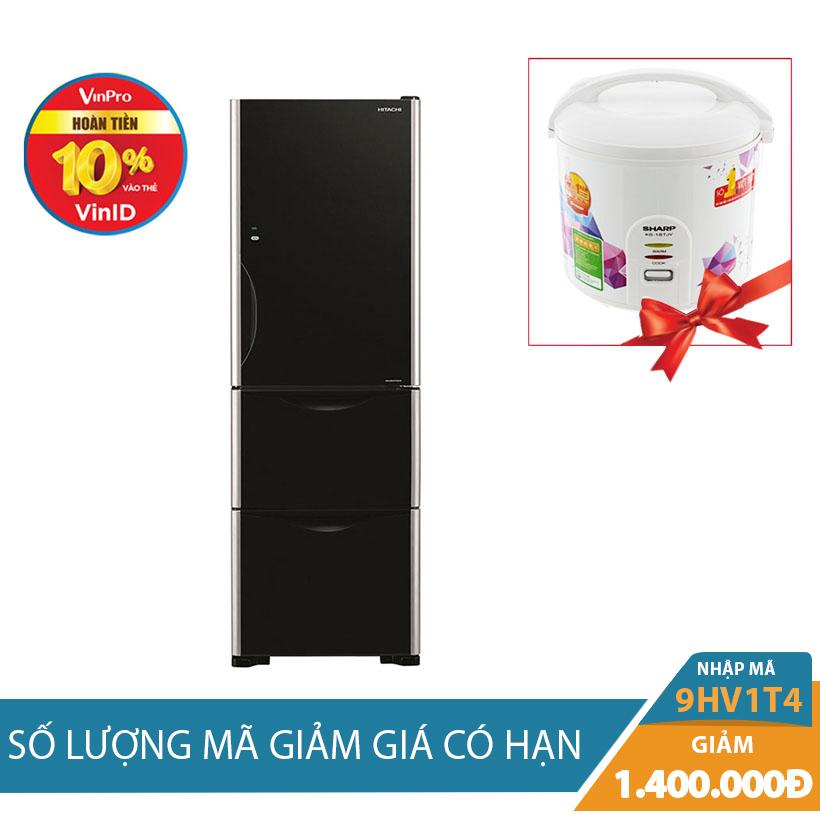 Giảm ngay 1Tr4, tặng kèm Nồi cơm điện Sharp 1.8L KS-18TJV khi mua Tủ lạnh Hitachi R-SG38FPGV (GBK) 375L Inverter
