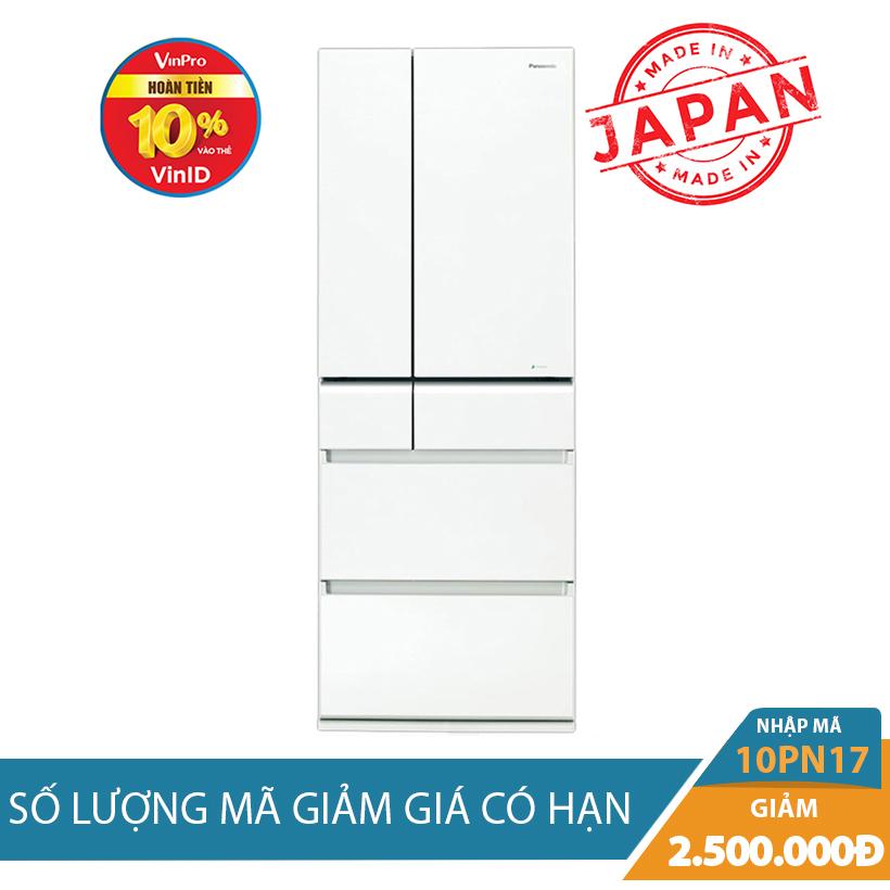 Giảm ngay 2Tr5 khi mua Tủ lạnh Panasonic NR-F510GT-W2, 489 lít, Inverter