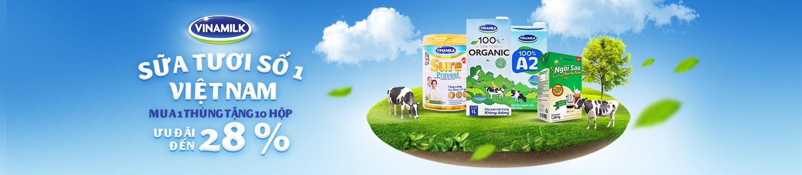 Khuyến mãi Sữa tươi Vinamilk – Mua 1 thùng tặng 10 hộp