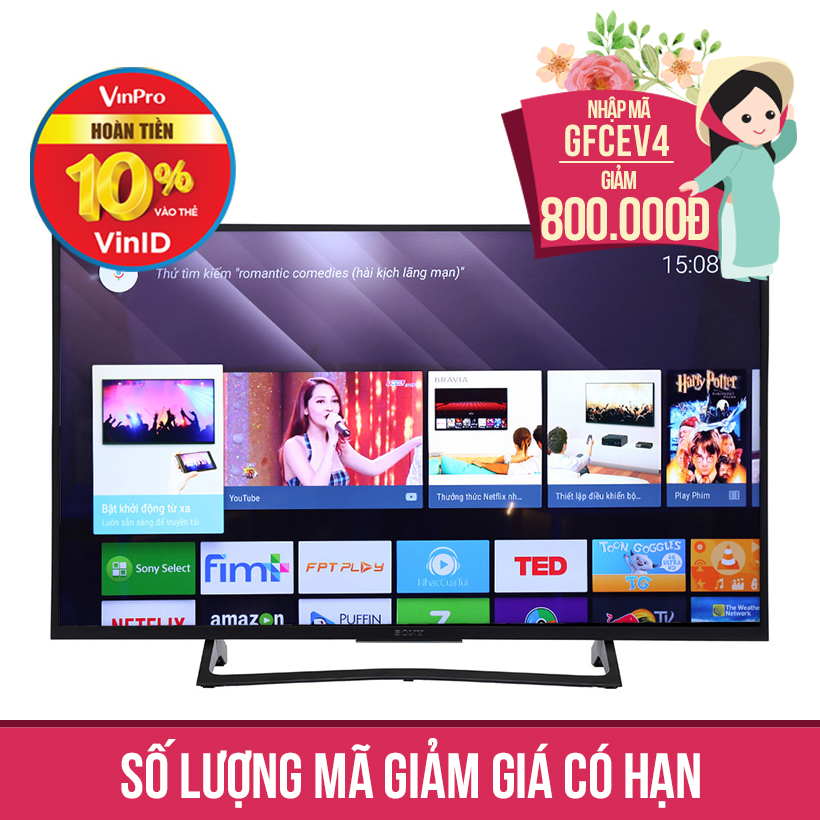 Giảm ngay 800K khi mua Internet TV Sony 4K KD-43X7000E 43 inch