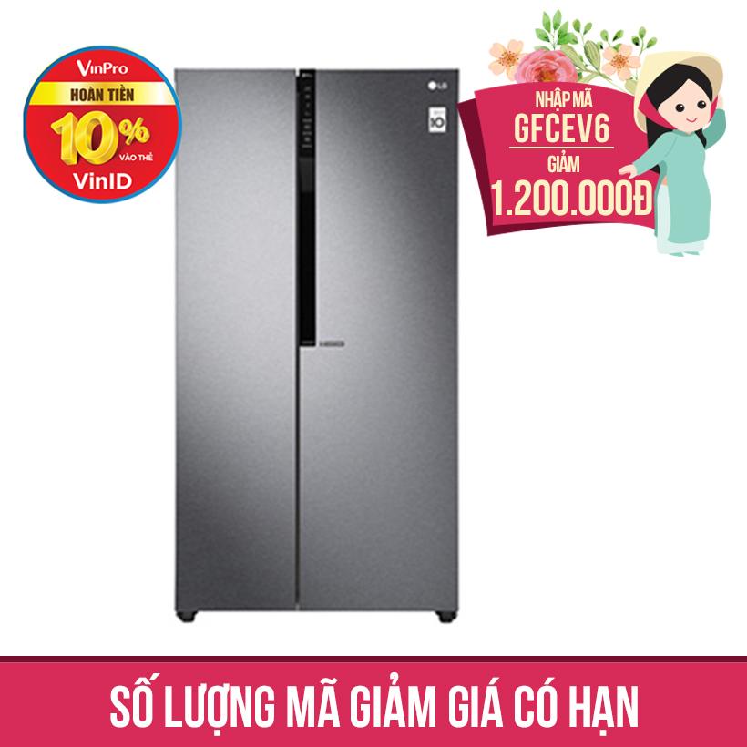 Giảm ngay 1.2Tr khi mua Tủ lạnh Side by Side Inverter LG GR-B247JDS 613 lít (Xám)