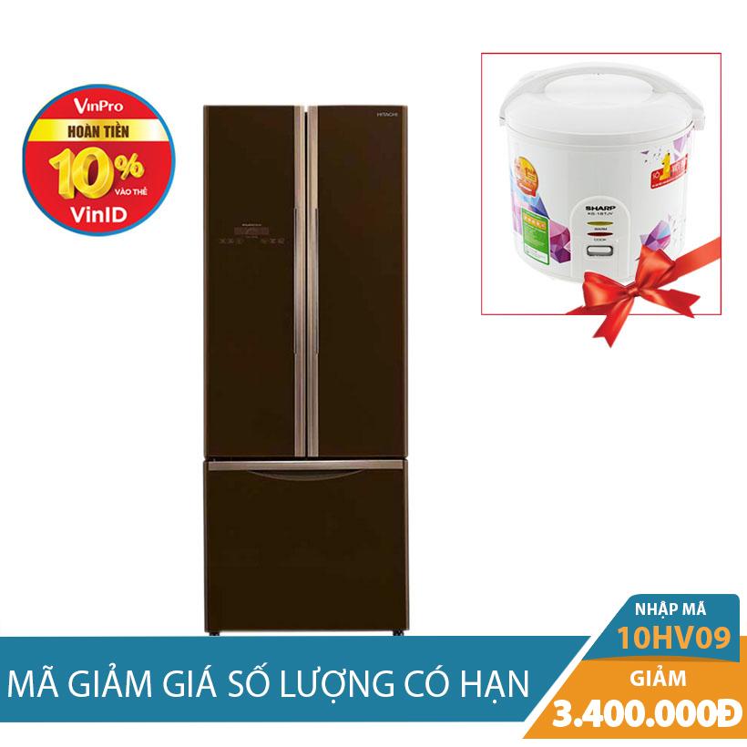 Tủ lạnh Hitachi R- WB475PGV2(GBW) 2 cửa gương Inverter 382 lít Khuyến mại tháng 10