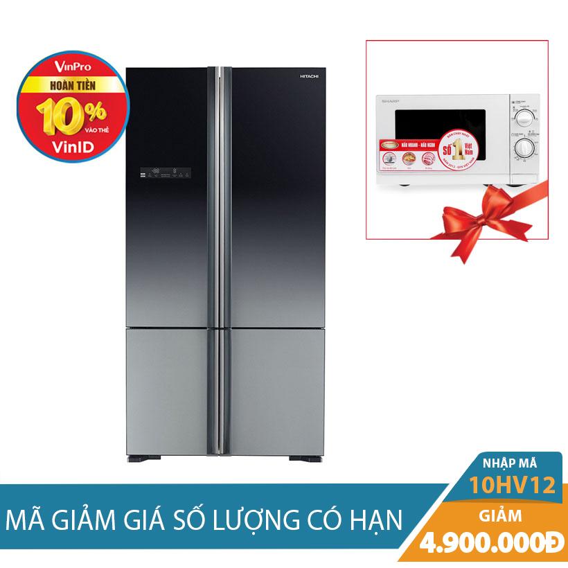 Giảm ngay 4.9Tr khi mua Tủ lạnh Side By Side Hitachi R-WB800PGV5(XGR), 640 lít, Inverter