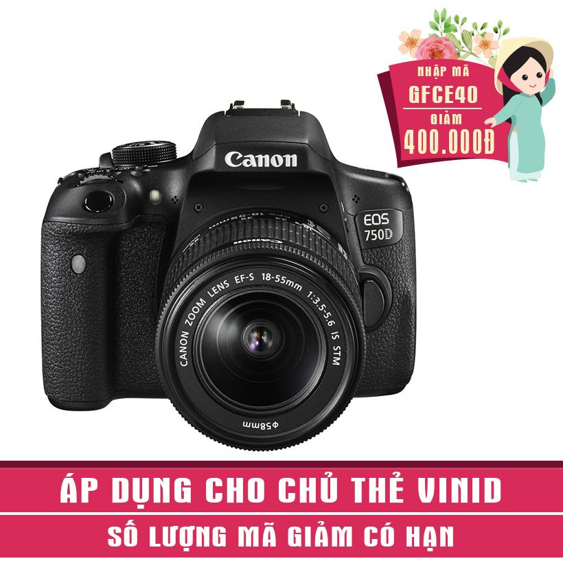 Máy ảnh SLR Canon EOS 750D Kit 18-55 - Khuyến mại tháng 10