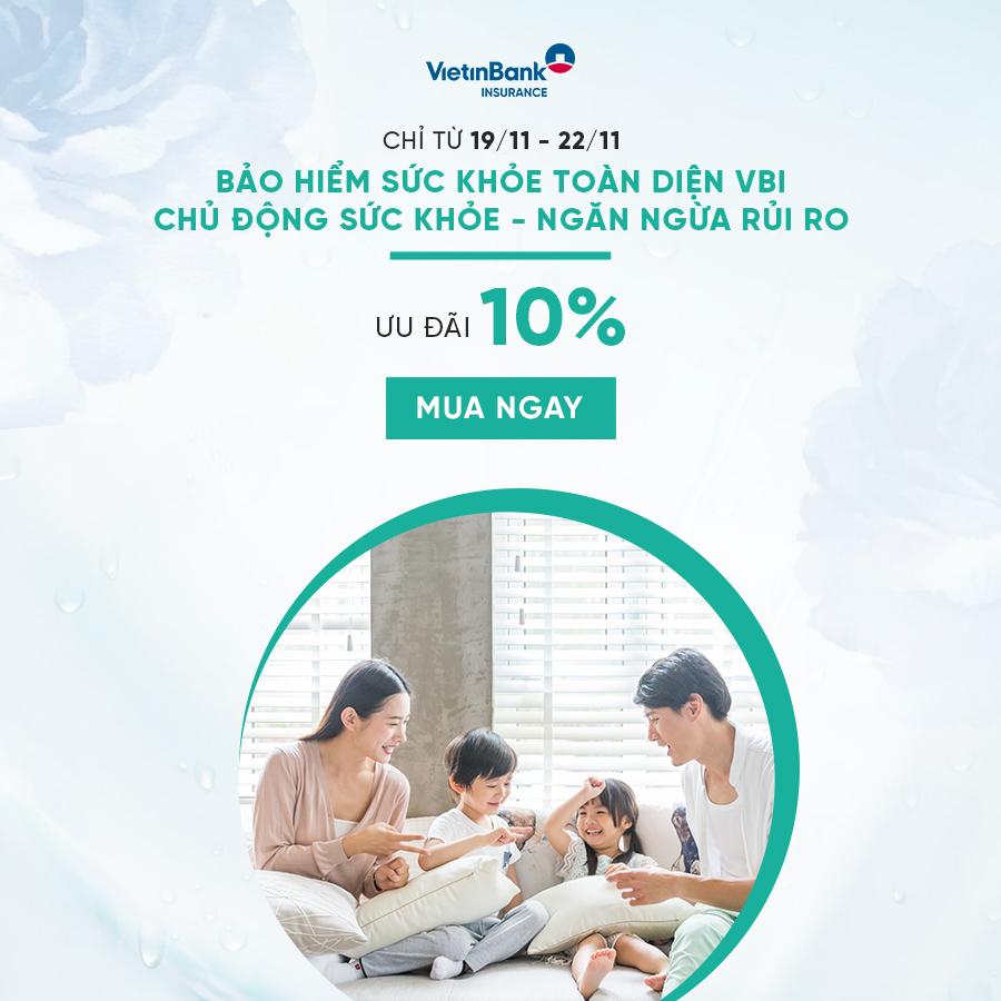 Khuyến mãi Bảo Hiểm Sức Khỏe VBI – Giảm 10%