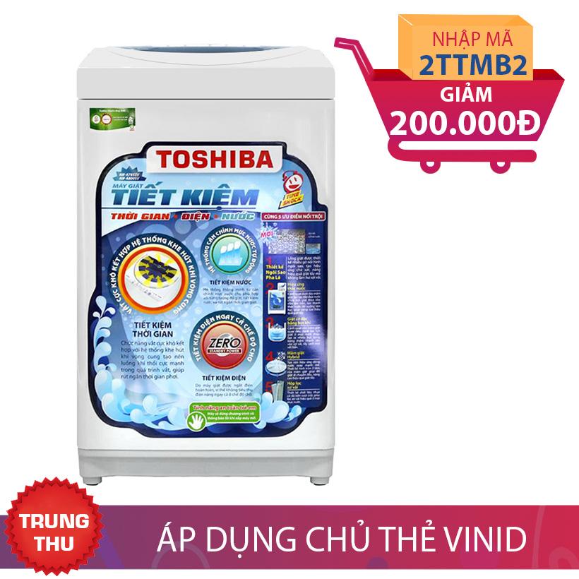 Máy giặt lồng đứng Toshiba A800SV, 7kg (Xanh) Khuyến Mại Tháng 9