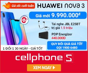 Cuối tuần: Giảm 2.000.000 khi mua Huawei Nova 3 + Tặng thêm Pin Energizer UE10022