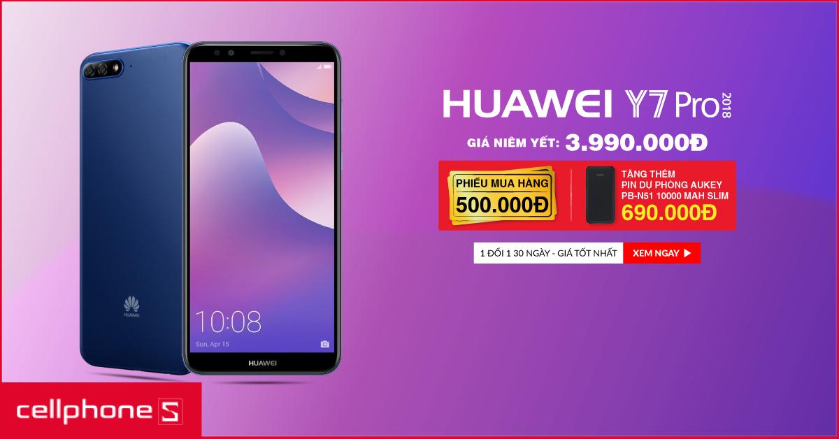 Giảm 500k  khi mua Huawei Y7 Pro 2018