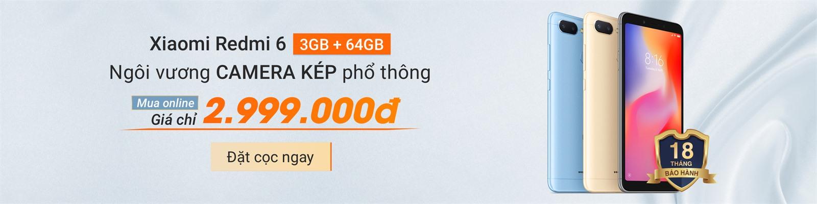 ĐẶT TRƯỚC ONLINE RƯỚC NGAY  XIAOMI RED 6 3GB-64GB : 2,999,000Đ