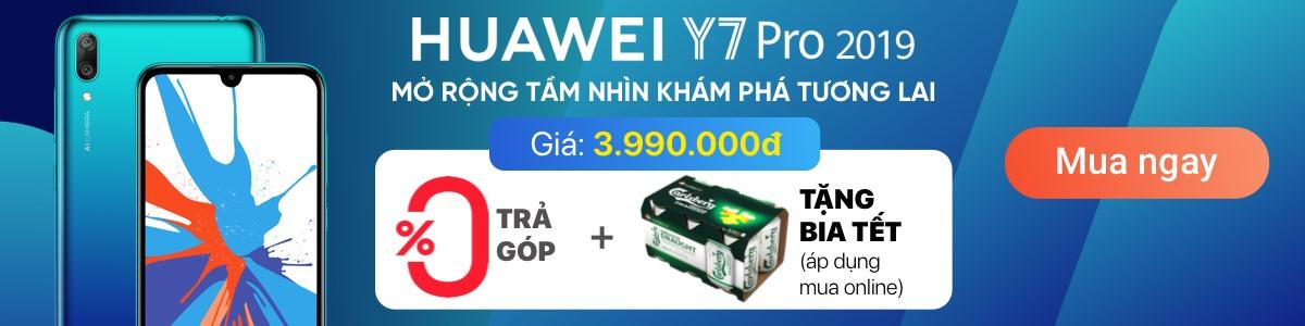 HUAWEI Y7 PRO 2019 - Tặng Loa Bluetooth + Trả góp 0%