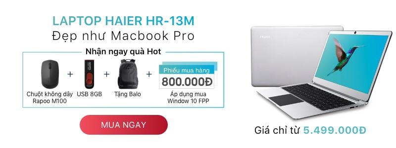 Sale laptop Haier - Tặng Chuột Rapoo M100  + USB 2.0 8GB Adata