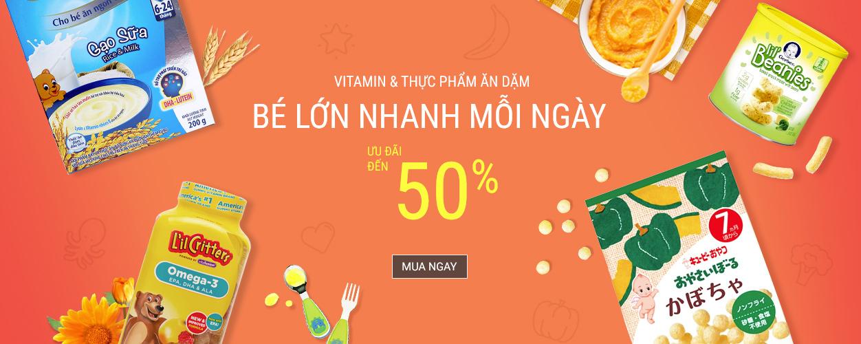 Vitamin và thức ăn dặm - giảm đến 50%