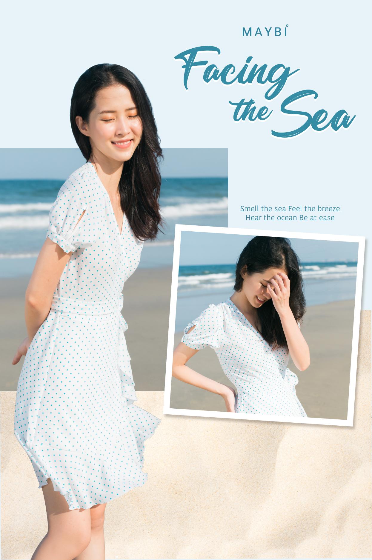 Khuyến mãi Đầm chấm bi chắp tà – White Polkadot Dress