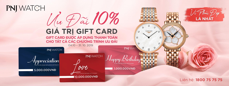 Giảm 15% khi mua đồng hồ kim cương khi thanh toán bằng Giftcard