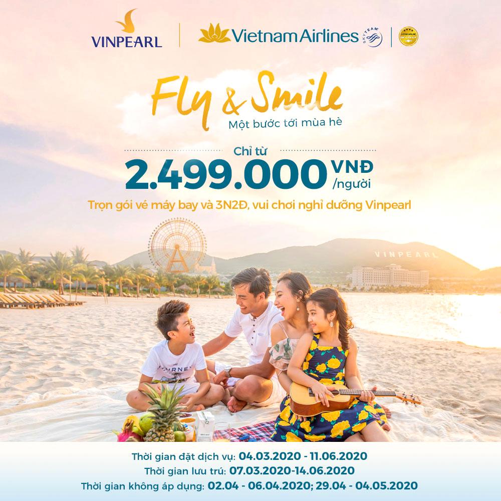 Combo trọn gói Vé máy bay khứ hồi Vietnam Airlines + 3N2Đ Nghỉ dưỡng Vinpearl + Vui chơi VinWonders: Chỉ từ 2.499K