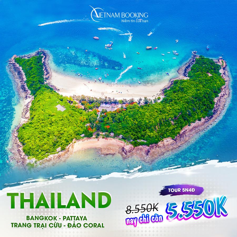 Bangkok - Pattaya 5N4Đ (Tour Bangkok – Pattaya – Trang trại cừu – Đảo Coral 5N4Đ) giá chỉ 5,550,000đ