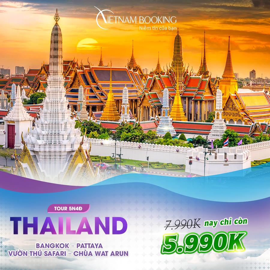 Bangkok - Pattaya 5N4Đ (Tour Bangkok – Pattaya – Vườn thú Safari – Chùa Wat Arun 5N4Đ) giá chỉ 5,990,000đ