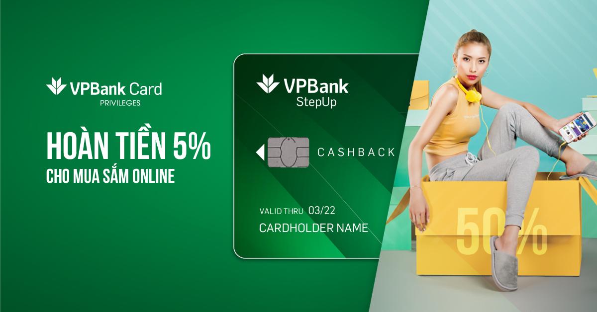 Thẻ StepUp - Hoàn 5% cho chi tiêu mua sắm online lên đến 7,2tr/năm