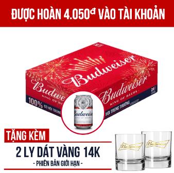 Khuyến mãi Budweiser thùng 24 lon 330ml