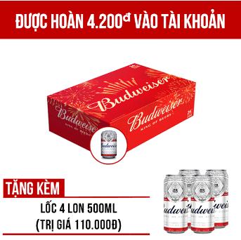 Tặng 4 lon Budweiser 500ml khi mua Budweiser thùng 24 lon 330ml giảm giá tại vuabia