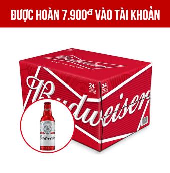 Giảm 25.000VNĐ khi mua 1 Budweiser Aluminum 24 chai 355ml