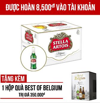 Stella Artois thùng 24 chai 330ml - Tặng hộp quà Best of Belgium trị giá 350.000VNĐ