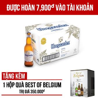 Hoegaarden White thùng 24 chai 330ml - Tặng 1 hộp quà Best of Belgium trị giá 350.000VNĐ/hộp