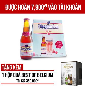 Hoegaarden Rosée thùng 24 chai 250ml - Tặng 1 hộp quà Best of Belgium trị giá 350.000VNĐ/hộp