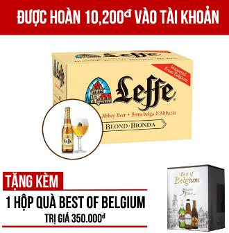 Leffe Blonde thùng 24 chai 330m - Tặng 1 hộp quà Best of Belgium trị giá 350.000VNĐ/hộp