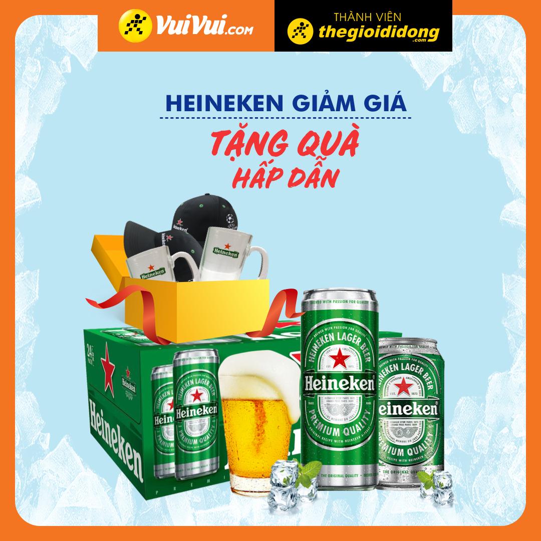 Thùng bia Heineken: Giảm giá + chọn quà ly thuy tinh hoặc nón
