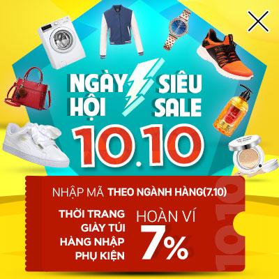 Khuyến mãi Ngày hội siêu sale 10.10: Hoàn ví 7%