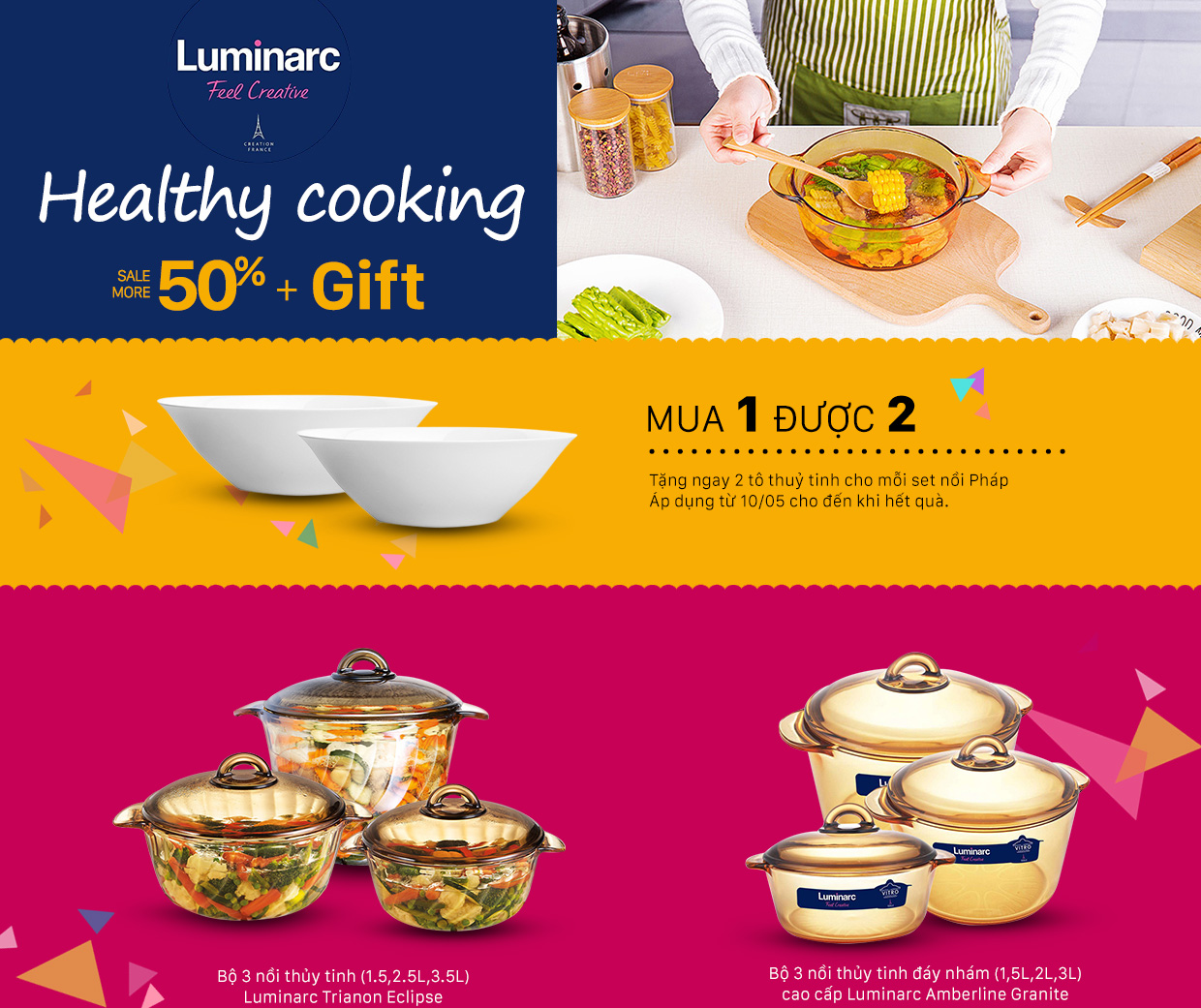 Heathy cooking - Luminarc: Sale 50% kèm quà